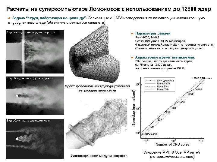 """Расчеты на суперкомпьютере Ломоносов с использованием до 12800 ядер ● Задача """"струя, набегающая на"""