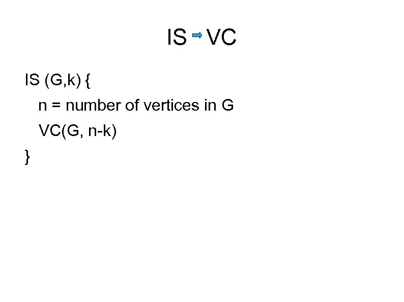 IS VC IS (G, k) { n = number of vertices in G VC(G,