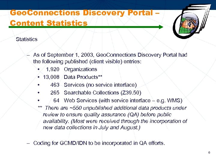 Geo. Connections Discovery Portal – Content Statistics – As of September 1, 2003, Geo.