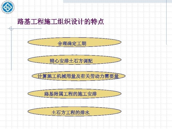 路基 程施 组织设计的特点 合理确定 期 精心安排土石方调配 计算施 机械用量及有关劳动力需要量 路基附属 程的施 安排 土石方 程的排水