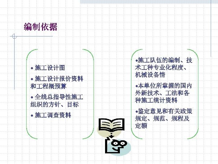 编制依据 • 施 设计图 • 施 设计报价资料 和 程概预算 • 全线总指导性施 组织的方针、目标 • 施