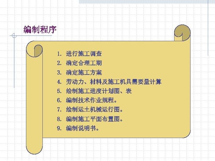 编制程序 1. 进行施 调查 2. 确定合理 期 3. 确定施 方案 4. 劳动力、材料及施 机具需要量计算 5.