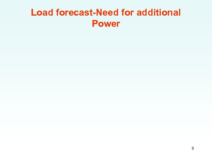 Load forecast-Need for additional Power 5