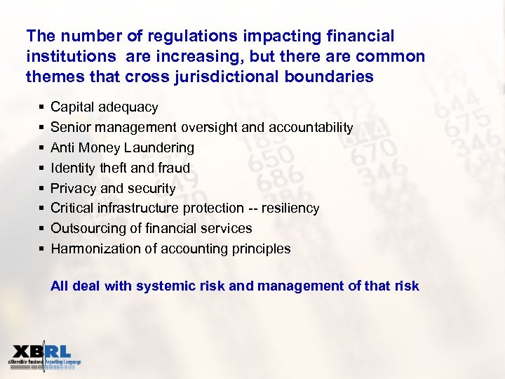 The number of regulations impacting financial institutions are increasing, but there are common themes