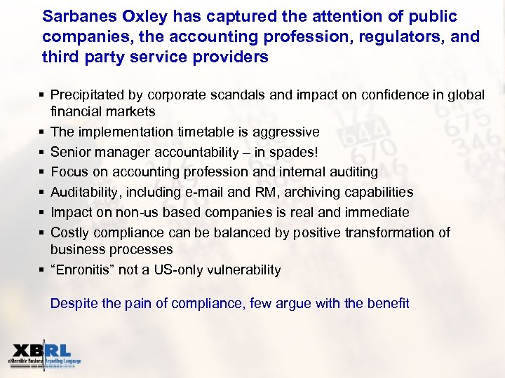 Sarbanes Oxley has captured the attention of public companies, the accounting profession, regulators, and