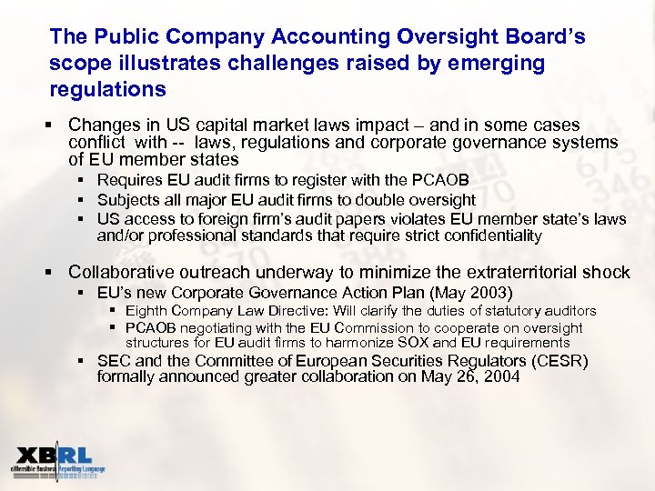 The Public Company Accounting Oversight Board's scope illustrates challenges raised by emerging regulations §
