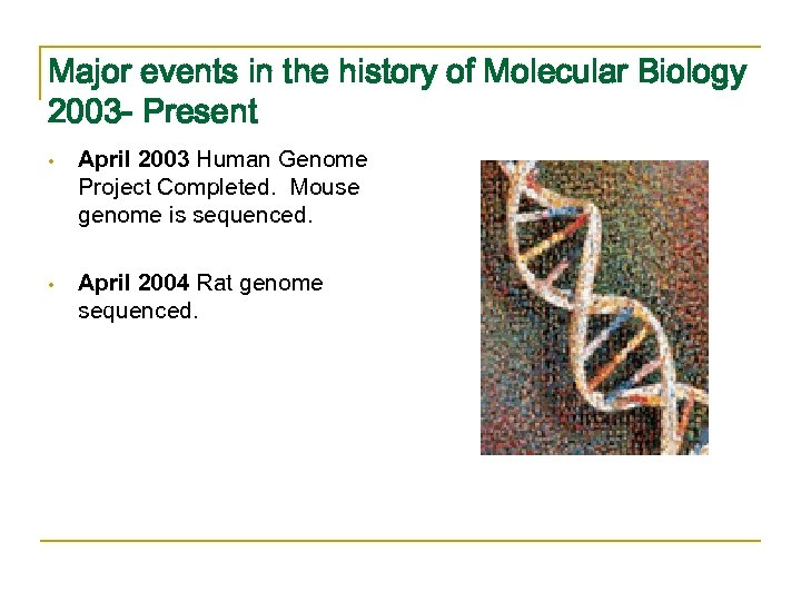 Major events in the history of Molecular Biology 2003 - Present • April 2003