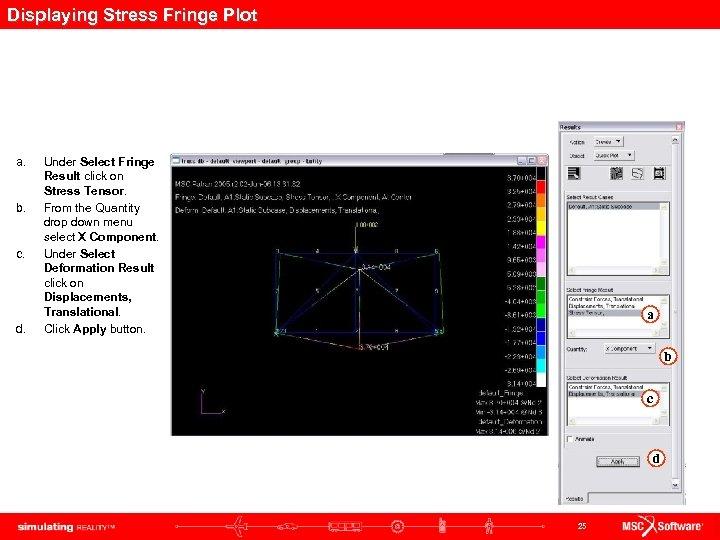 Displaying Stress Fringe Plot a. b. c. d. Under Select Fringe Result click on