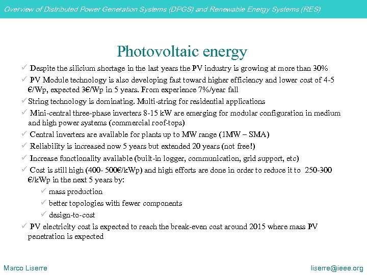 Overview of Distributed Power Generation Systems (DPGS) and Renewable Energy Systems (RES) Photovoltaic energy