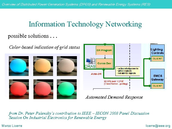 Overview of Distributed Power Generation Systems (DPGS) and Renewable Energy Systems (RES) Information Technology