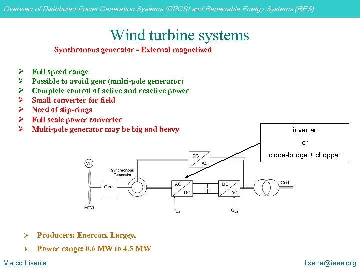 Overview of Distributed Power Generation Systems (DPGS) and Renewable Energy Systems (RES) Wind turbine