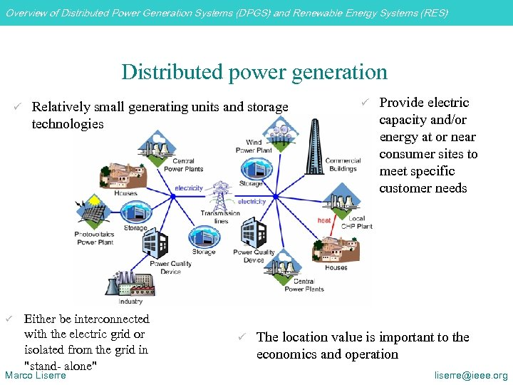 Overview of Distributed Power Generation Systems (DPGS) and Renewable Energy Systems (RES) Distributed power