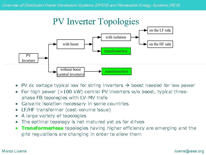Overview of Distributed Power Generation Systems (DPGS) and Renewable Energy Systems (RES) PV Inverter