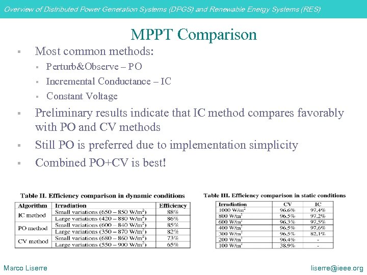 Overview of Distributed Power Generation Systems (DPGS) and Renewable Energy Systems (RES) MPPT Comparison