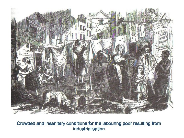 Crowded and insanitary conditions for the labouring poor resulting from industrialisation