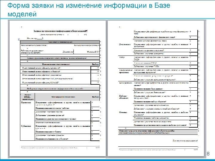 Форма заявки на изменение информации в Базе моделей 48