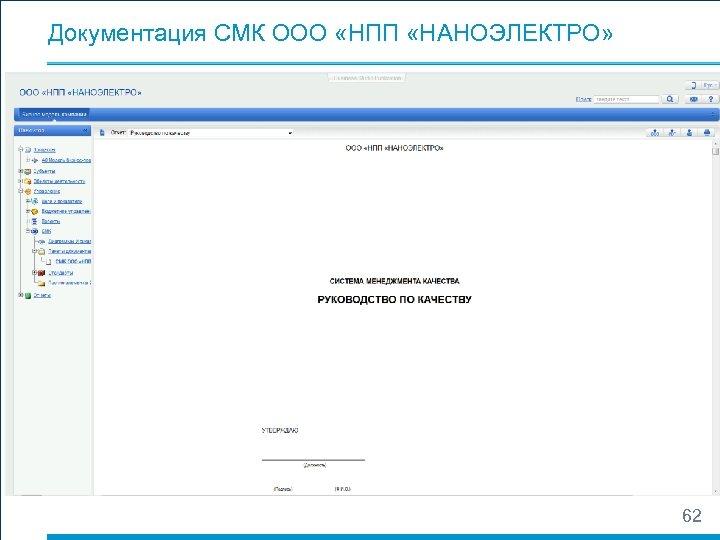 Документация СМК ООО «НПП «НАНОЭЛЕКТРО» 62