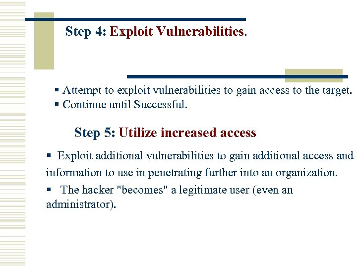 Step 4: Exploit Vulnerabilities. § Attempt to exploit vulnerabilities to gain access to the