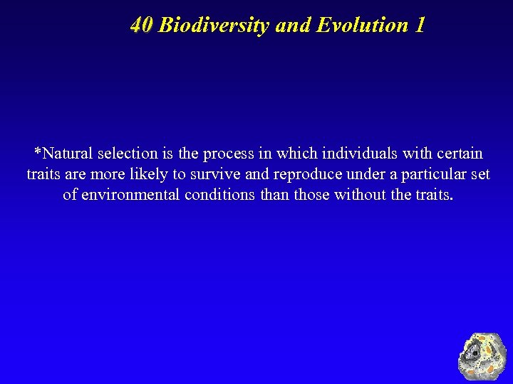 40 Biodiversity and Evolution 1 *Natural selection is the process in which individuals with