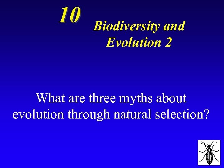 10 Biodiversity and Evolution 2 What are three myths about evolution through natural selection?