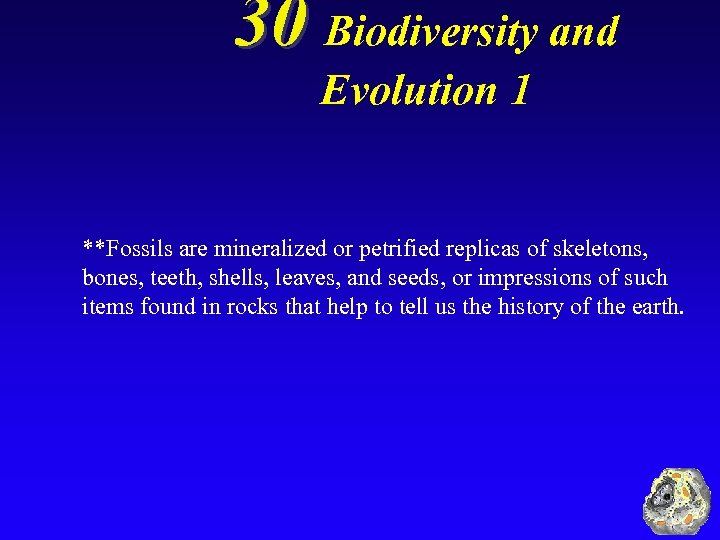 30 Biodiversity and Evolution 1 **Fossils are mineralized or petrified replicas of skeletons, bones,
