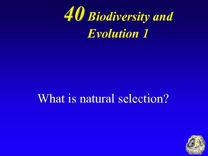 40 Biodiversity and Evolution 1 What is natural selection?