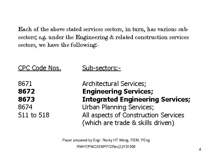 Each of the above stated services sectors, in turn, has various subsectors; e. g.