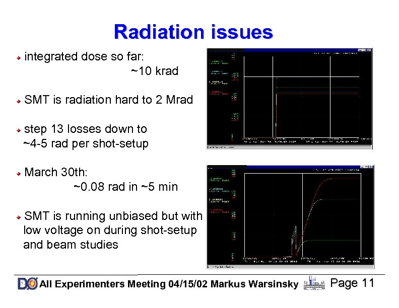 Radiation issues integrated dose so far: ~10 krad SMT is radiation hard to 2