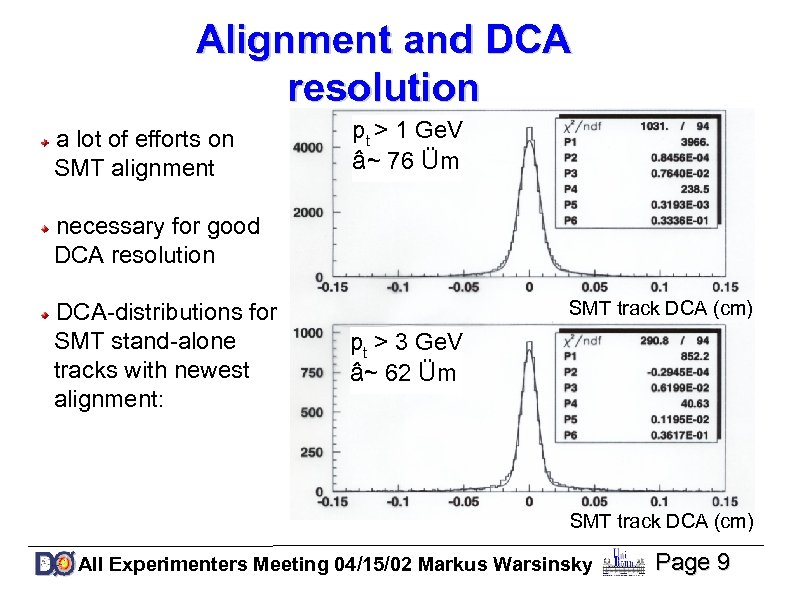 Alignment and DCA resolution a lot of efforts on SMT alignment pt > 1