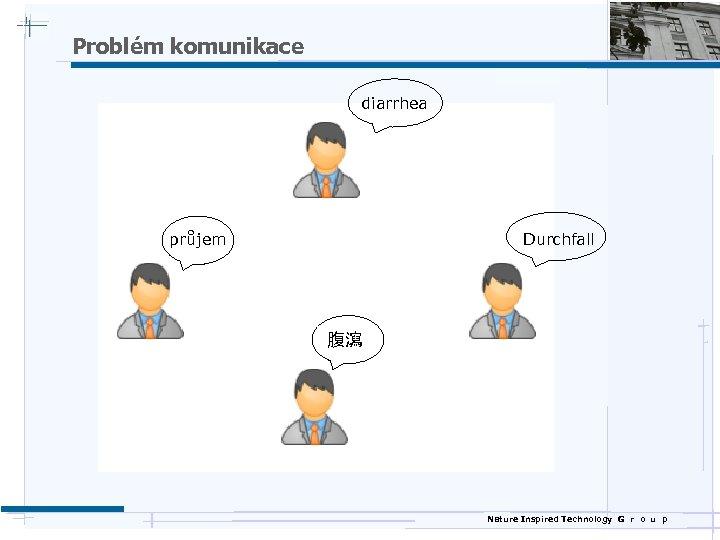 Problém komunikace diarrhea průjem Durchfall 腹瀉 Nature Inspired Technology G r o u p