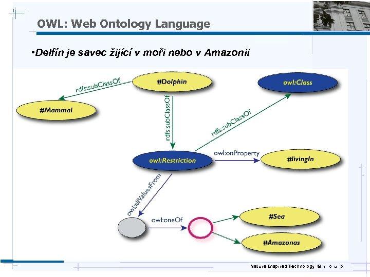 OWL: Web Ontology Language • Delfín je savec žijící v moři nebo v Amazonii
