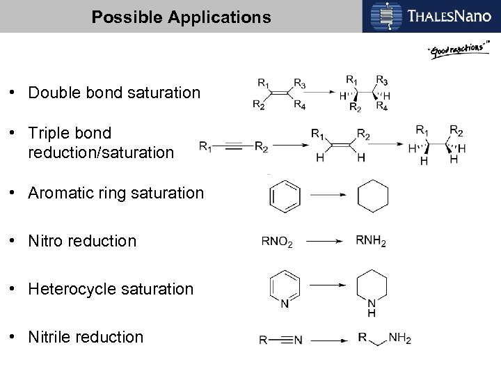Possible Applications • Double bond saturation • Triple bond reduction/saturation • Aromatic ring saturation