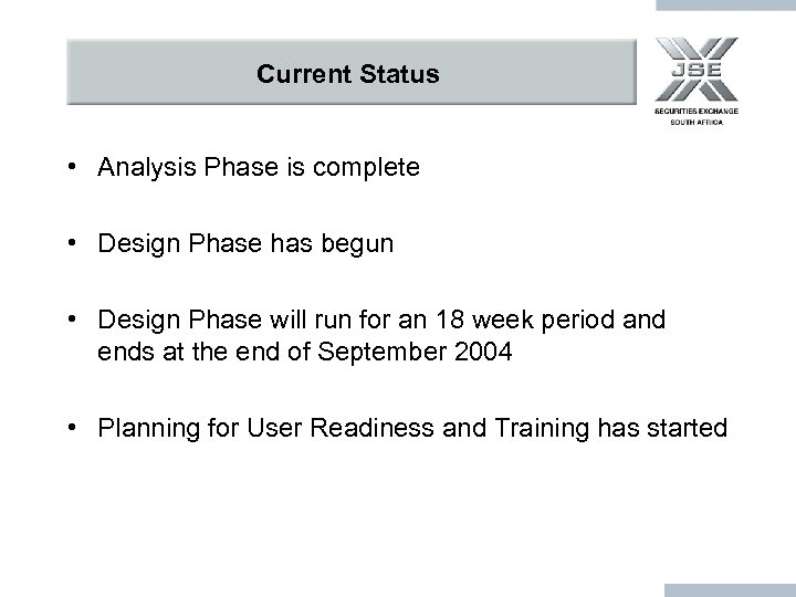Current Status • Analysis Phase is complete • Design Phase has begun • Design