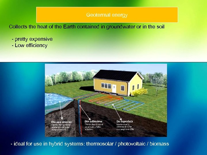 Geotermal energy Collects the heat of the Earth contained in groundwater or in the