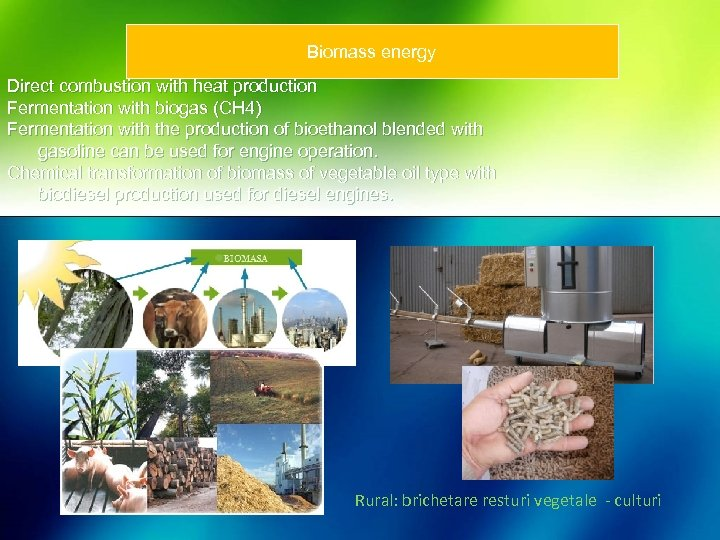 Biomass energy Direct combustion with heat production Fermentation with biogas (CH 4) Fermentation with