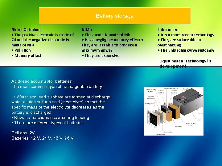 Battery storage Nickel Cadmium • The positive electrode is made of Cd and the