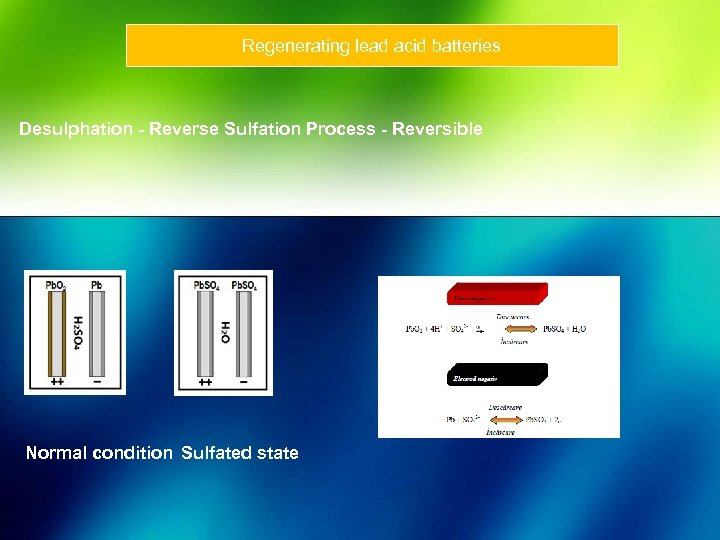 Regenerating lead acid batteries Desulphation - Reverse Sulfation Process - Reversible Normal condition Sulfated