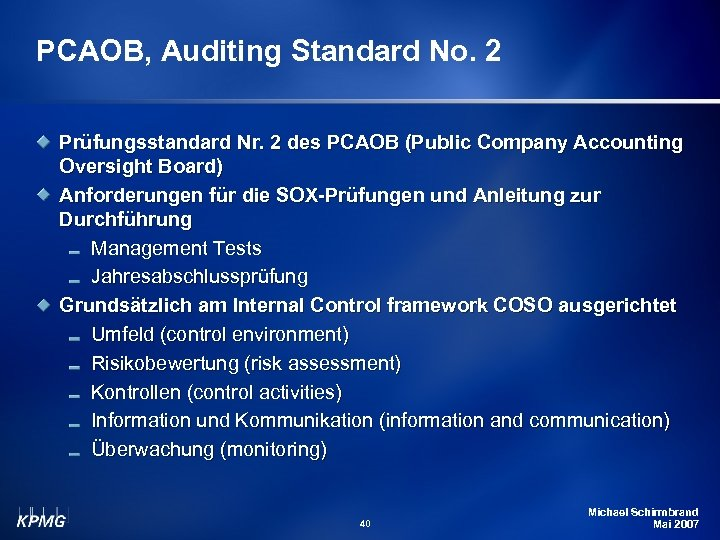PCAOB, Auditing Standard No. 2 Prüfungsstandard Nr. 2 des PCAOB (Public Company Accounting Oversight