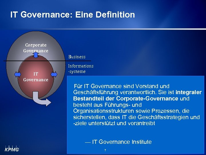 IT Governance: Eine Definition Corporate Governance Business IT Governance Informations -systeme Für IT Governance