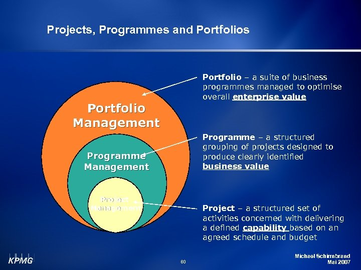 Projects, Programmes and Portfolios Portfolio – a suite of business programmes managed to optimise