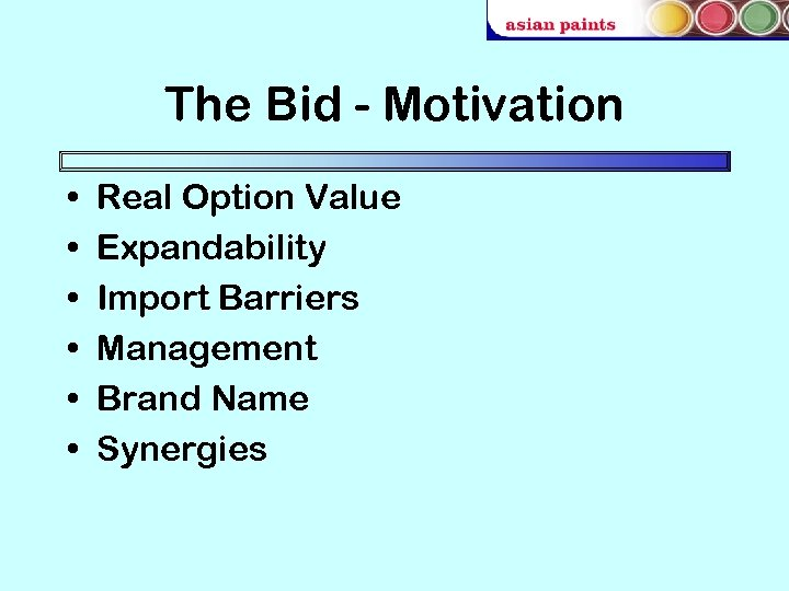 The Bid - Motivation • • • Real Option Value Expandability Import Barriers Management