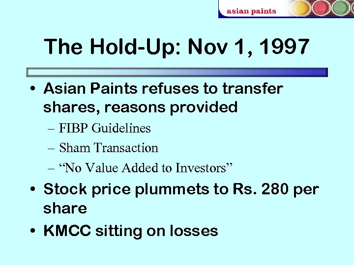 The Hold-Up: Nov 1, 1997 • Asian Paints refuses to transfer shares, reasons provided