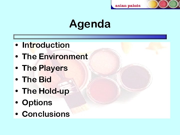 Agenda • • Introduction The Environment The Players The Bid The Hold-up Options Conclusions