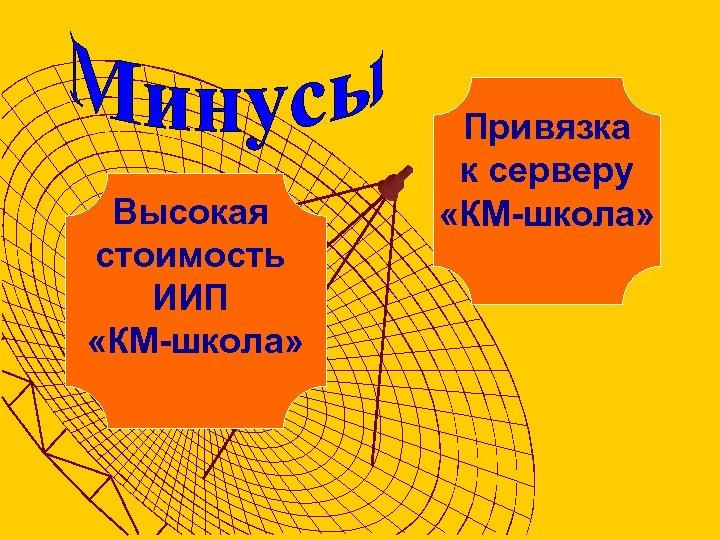 Высокая стоимость ИИП «КМ-школа» Привязка к серверу «КМ-школа»
