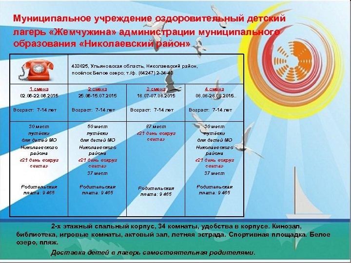 Муниципальное учреждение оздоровительный детский лагерь «Жемчужина» администрации муниципального образования «Николаевский район» 433825, Ульяновская область,