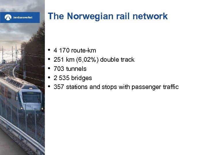 The Norwegian rail network • • • 4 170 route-km 251 km (6, 02%)