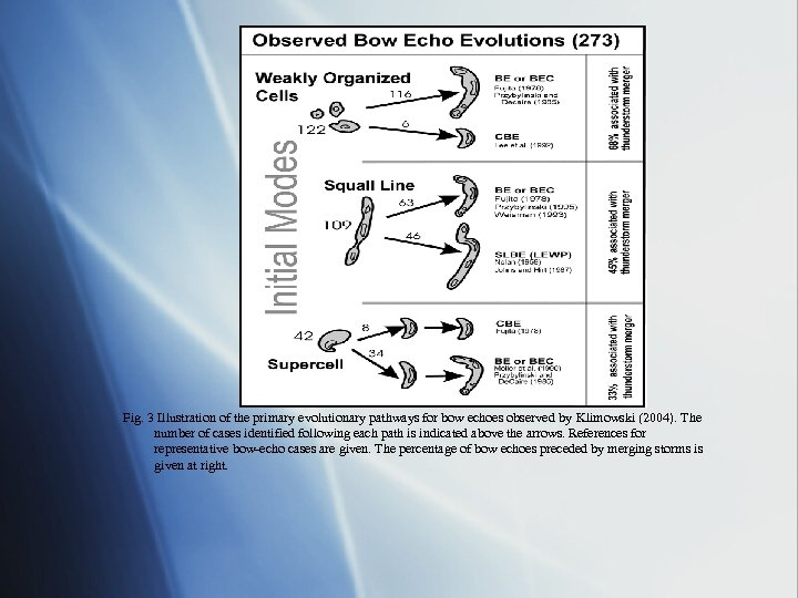 Fig. 3 Illustration of the primary evolutionary pathways for bow echoes observed by Klimowski