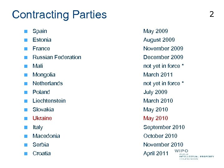 Contracting Parties 2 Spain May 2009 Estonia August 2009 France November 2009 Russian Federation