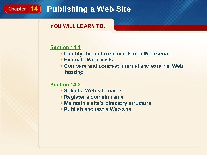 14 Publishing a Web Site YOU WILL LEARN TO… Section 14. 1 • Identify