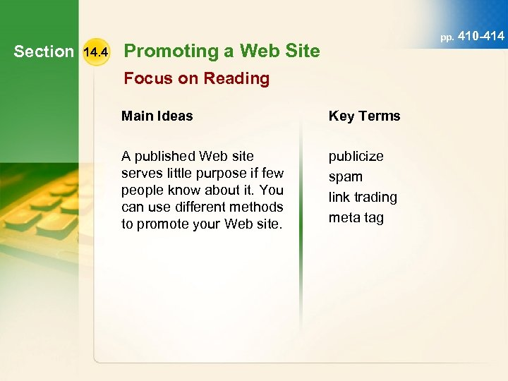 Section 14. 4 pp. 410 -414 Promoting a Web Site Focus on Reading Main